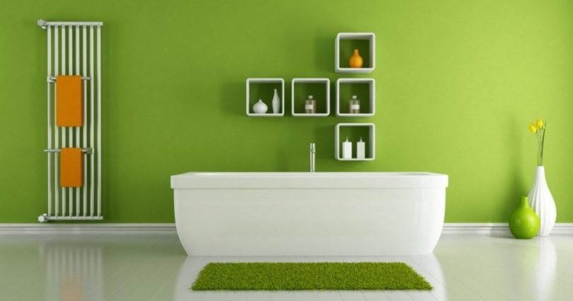 interior-wall-paints-modern-green-wall-paint-and-square-floating-shelves-ideas-design-with-elegant-white-freestanding-bathtub-design